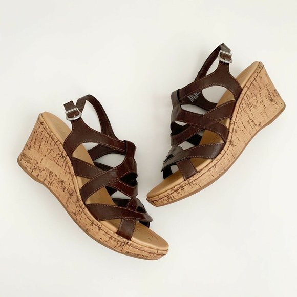 Born BOC Womens Brown Vegan Leather Wedge Strappy